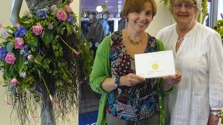 Left to right Claire Nellis and Gwenda Foster representing Hitchin Floral Art Club at Chelsea Flower
