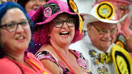 Monster Raving Loony party candidate Lady Lily The Pink with supporters. Photograph: Ben Birchall/PA