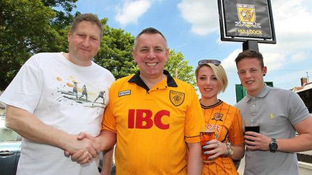 The Orange Tree landlord Rob Scahill with the president of the Hull City official supporters club Ia