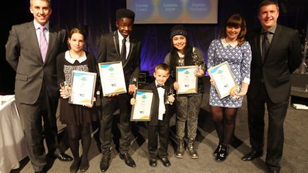Young Achiever winners (left to right) Emma Casey, Morgan Simpson, Tae Pullin, Gabz Gardiner and Lau