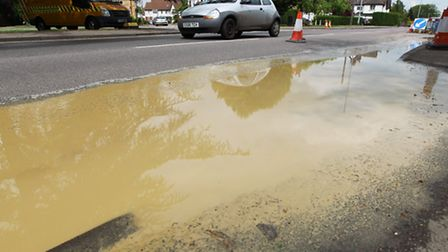 Water on Baldock Road in Letchworth GC after a main burst