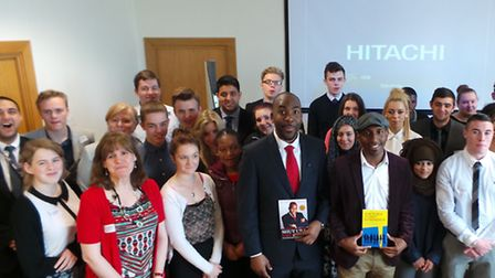 Students with Action Jackson (centre left) and Junior Ogunyemi (centre right)