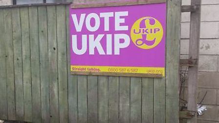 UKIP posters have been vandalised in Hitchin