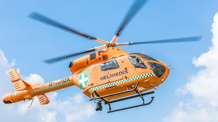 An air ambulance was called to a house in Henlow after a teenage boy fell down the stairs