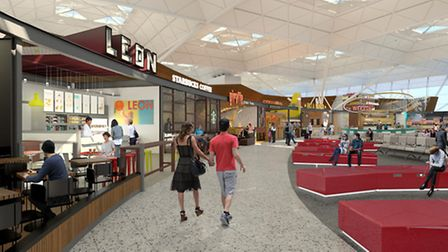 New restaurants, bars and cafes have been unveiled in artist impressions for the 80million terminal