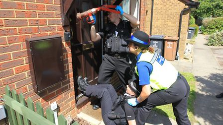 Drugs raid on a house in Newcastle Close, in Stevenage