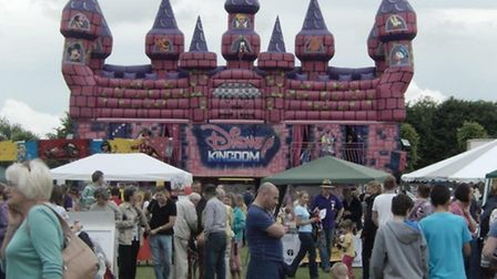 A Disney-themed bouncy castle at the Knebworth Fun Day on Saturday