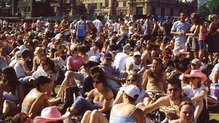 Crowds gather for the Robbie Williams concert in the grounds of Knebworth House in 2003