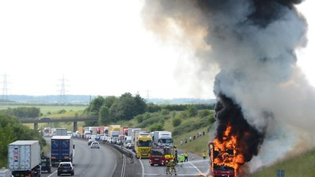 A Stagecoach bus caught fire on the M11 near Littlebury at about 10.15am today (Thursday, June 12).