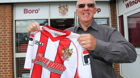 Mick Cooper with the 2014/2015 home shirt