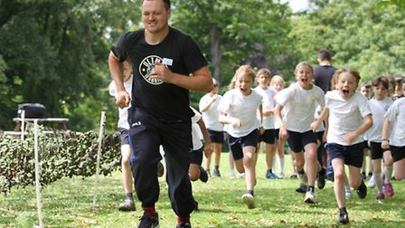 Ultm8 Warrior's Dan Scott leads a charge around the assault course
