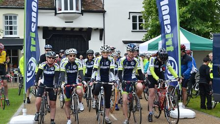 Riders raring to go at the start of a previous Baldock Cycle Challenge
