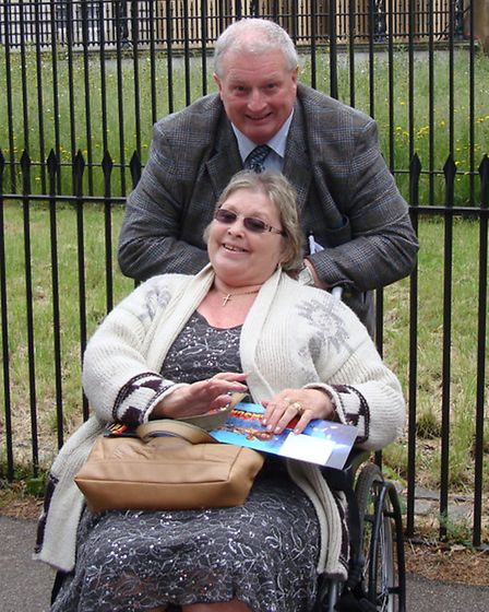 Walk organiser Norman Phillips with his wife Ros, who he cares for