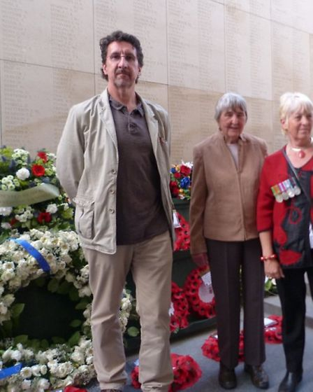 Yvonne Limbrick, Andy Gibbs, Jean Handley A wreath for remembrance, at the Menin Gate