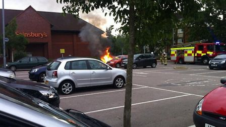 Fire service at the scene in Bancroft, Hitchin. Photo by @theappgeeks via Twitter
