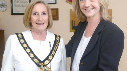 New chairman of the NHDC Cllr Tricia Cowley pictured with outgoing chairman Jane Gray