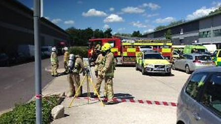 Emergency services were called to an amonia leak in Stevenage today Credit: @WWatch23
