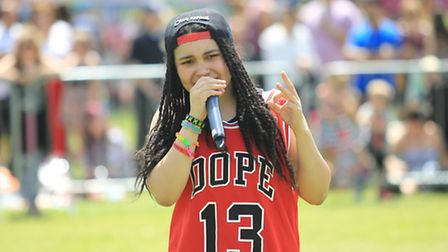 Gabz performs at Stevenage Day
