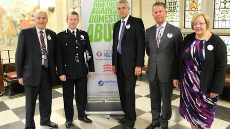 From left, Cllr Dick Madden, chief constable Stephen Kavanagh, PCC Nick Alston and representatives f