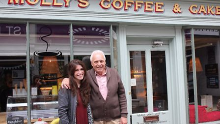 Kelly Clare with former Eastenders star Peter Dean in Saffron Walden.