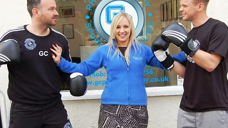 It's a Knockout sponsor George Cooper, St Clare corporate fundraiser Brooke Stacey and hospice suppo