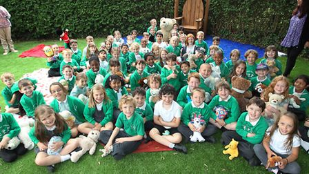 Oak class year 2 pupils have a teddy bears picnic to celebrate the opening of the new nursery garden