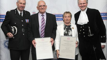 Left to right: Assistant chief constable Jon Boutcher, Alan Jones, Christine Flavin and the High She