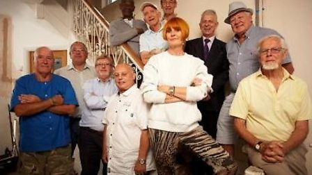 "St Clare volunteer Robin Ekblom (front right in yellow shirt) with Mary Portas and his fellow ""oldie"