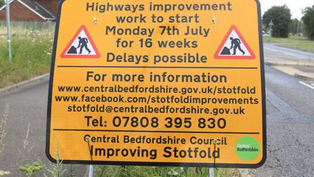 The roadworks started in Stotfold on Monday