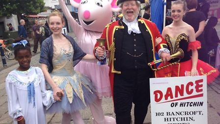 Pic shows various outfits from Dance of Hitchin and Town Cryer Alan Myatt
