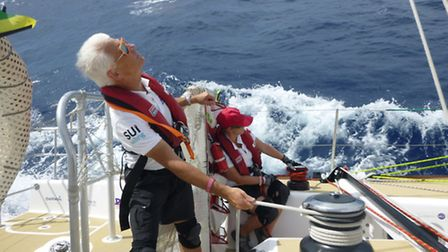 Edward Gildea aboard his yacht during the Clipper Round the World Race.