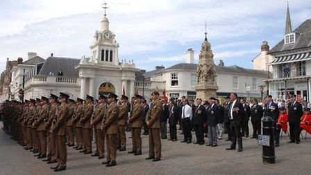 Soldiers from Carver Barracks paraded through Saffron Walden to commemorate the centenary of the out