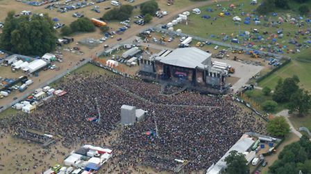 The Sonisphere 2014 festival's main stage at Knebworth from the air. Credit: National Police Air Ser