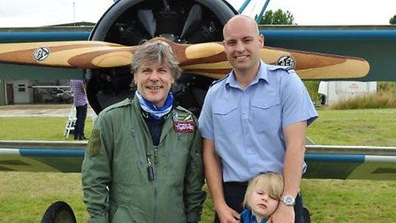 Bruce Dickinson, lead singer of Iron Maiden, with Ash Grey-Smart, flight officer at RAF Henlow and h