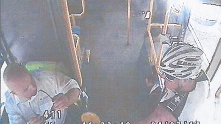 CCTV image showing cyclist who is alleged to have punched a bus driver in Thaxted.