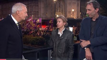 Jon Snow appears on Channel 4 News with Will Self and Lionel Shriver. Photograph: Channel 4 News.