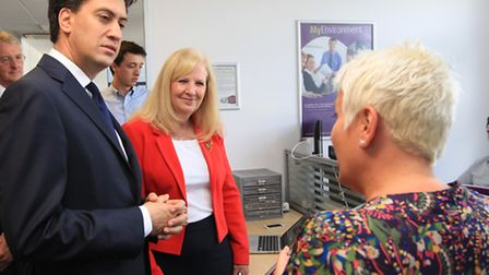 Ed Miliband, accompanied by Cllr Sharon Taylor, speaks to Jenny Boag, owner of JB Consulting at Busi