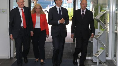Ed Miliband arrives with Cllr Sharon Taylor at the Business and Technology Centre in Stevenage