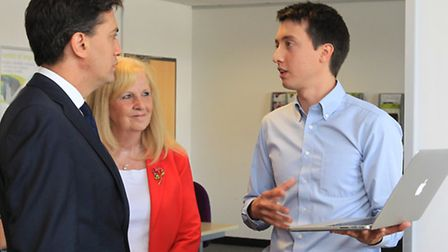 Ed Miliband speaks to Chester Mojay-Sinclare from Charity Checkout at the Business and Technology Ce