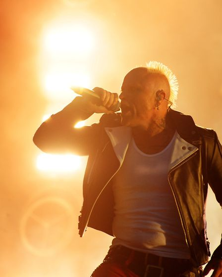 Keith Flint on stage at Sonisphere 2014 during The Prodigy's Friday night headline show at Knebworth