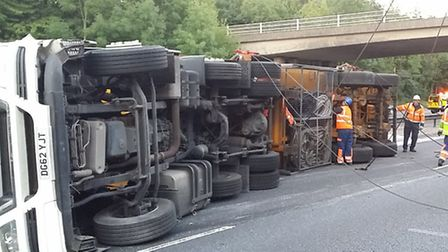 Firefighters were callled to an incident involving a lorry which has overturned on the M11. The lorr