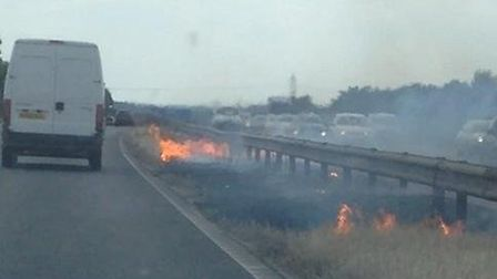 The fire service have been called to the A1(M) between Stevenage and Letchworth following reports of