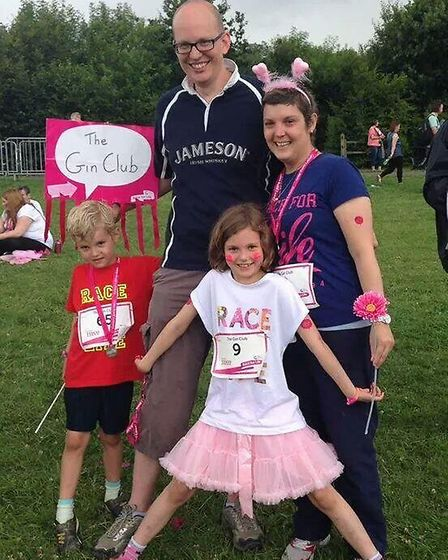 Julia Lawley with her husband Ross and two children Imogene 8 and Felix 6 after the race on Sunday