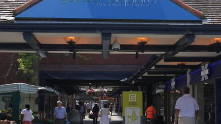 The clock at the entrance of the Letchworth Garden Square Shopping centre is being knocked down