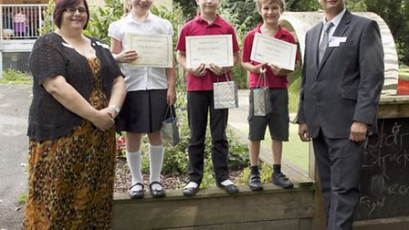 From left, Care UK's Kaz Farrant, Bentfield Primary School pupils Evie-Mae Evans, Jessica Penny and