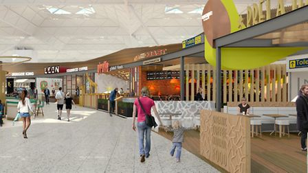 New restaurants, bars and cafes have been unveiled in artist impressions for the £80million terminal