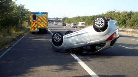Emergency services were called to the A1(M) between Junction 8 for Stevenage and Junction 9 for Letc