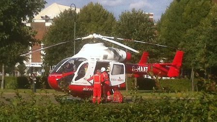 Herts Air Ambulance landed in Broadway Gardens, Letchworth, at around 5.50pm on Saturday. Credit: St