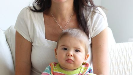 Katy Evans with her son Leo