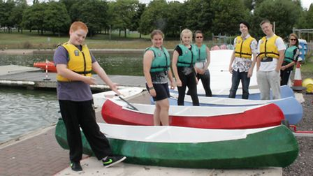 Youngsters who are supported by Carers in Hertfordshire at the canoe racing event in Stevenage's Fai